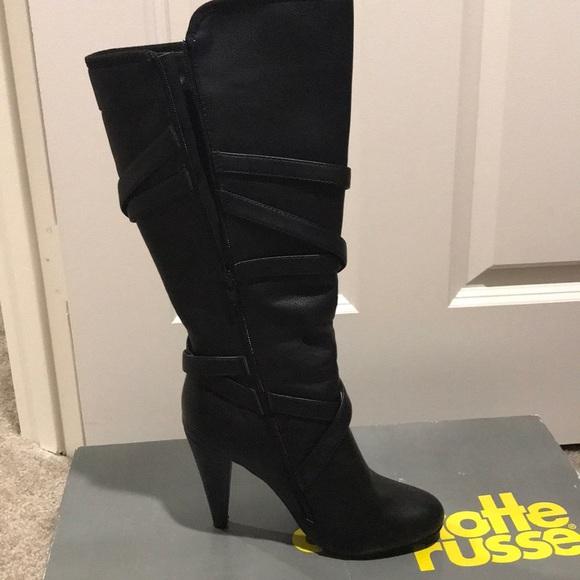 85ccb17adbb3 Charlotte Russe Shoes | Cute Black High Heel Boots | Poshmark